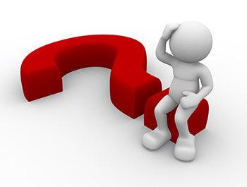 man sitting on 3d question mark