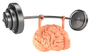 a brain graphic lifting weights