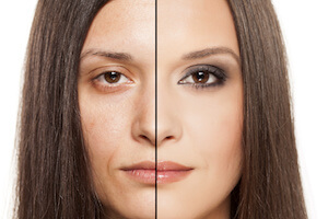 Womans with half of face looking younger and half looking older